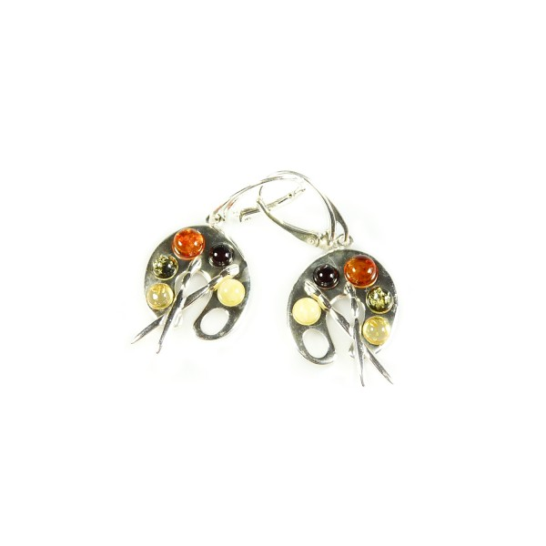 Amber Earrings on Silver Amber Earrings   Artist S Paint Pallete   Amber Jewellery