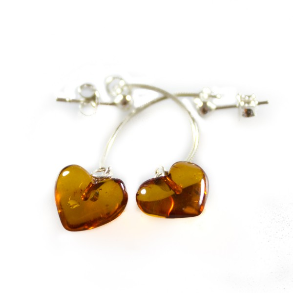 Amber Earrings on Petite Heart Shaped Amber Earrings   Amber Jewellery